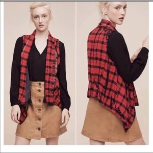 Anthro's elevenses plaid fly open vest size small